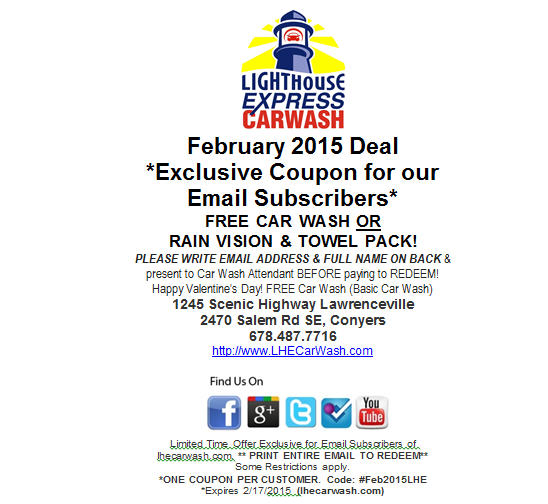 Car Wash Coupon (Valentines 2015)
