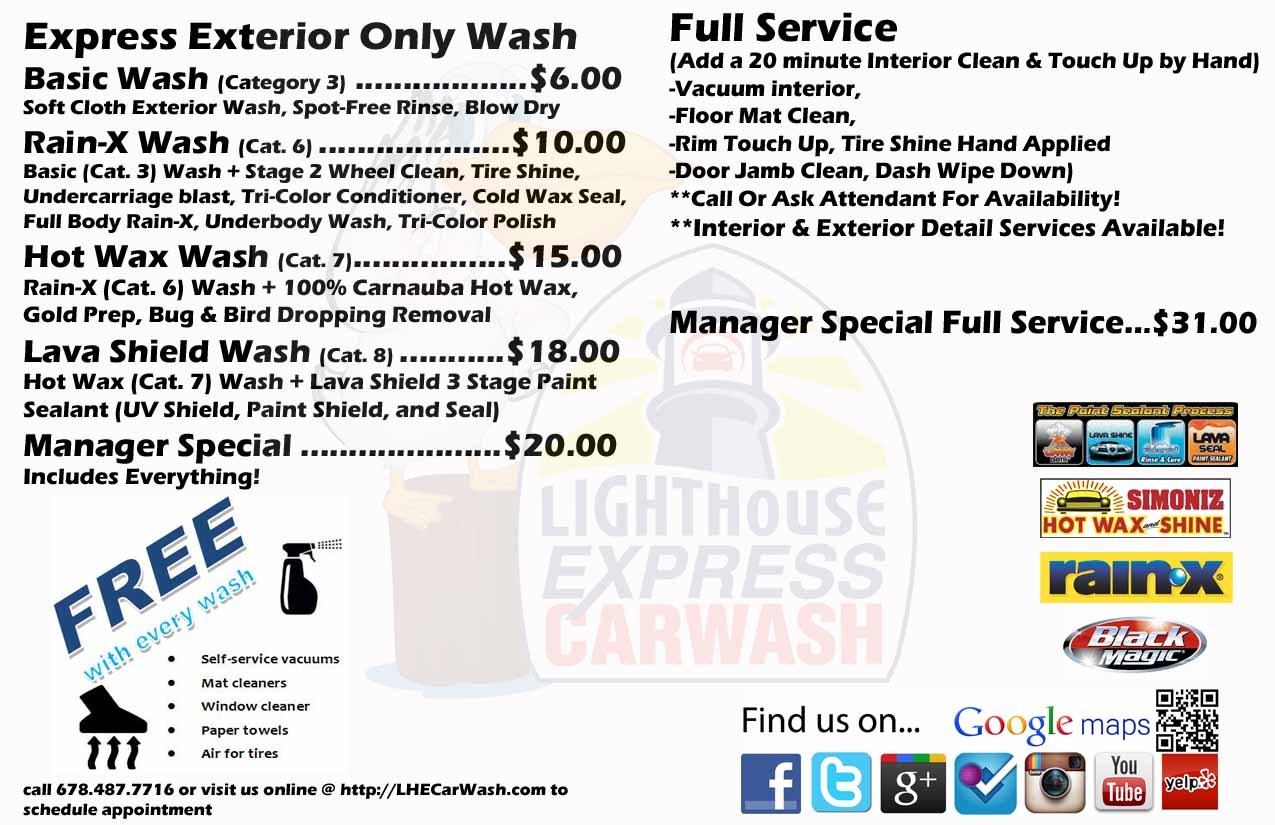 LHECARWASH EXPRESS MENU